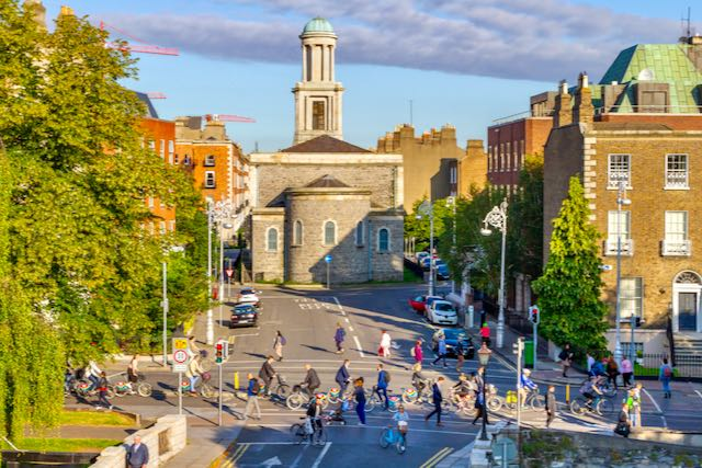 A busy biking scene in Dublin